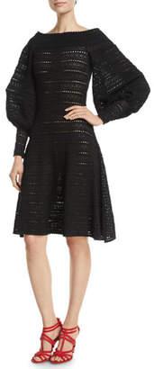 Oscar de la Renta Full-Sleeve Off-the-Shoulder A-Line Pointelle Knit Dress