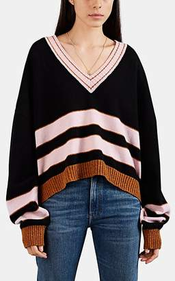 Loewe Women's Striped Wool V-Neck Sweater - Black