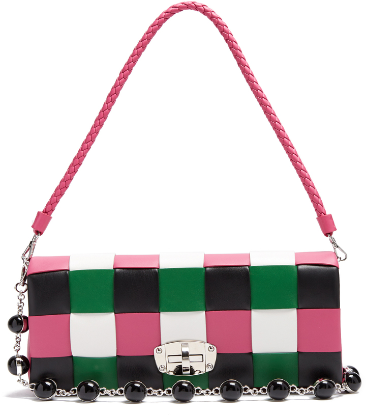 Miu Miu MIU MIU Patchwork woven-leather shoulder bag