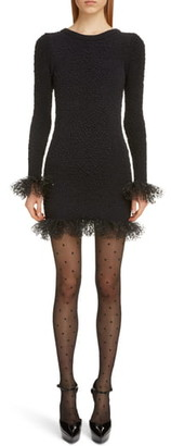 Saint Laurent Tulle Trim Long Sleeve Boucle Dress