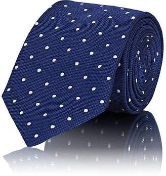 Barneys New York Men's Polka Dot Waffle-Textured Silk Necktie