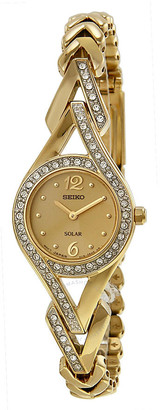 Seiko Solar Gold Dial Gold-Tone Steel Ladies Watch