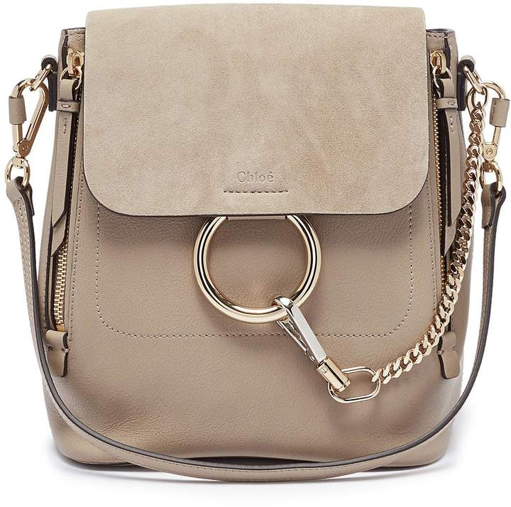 ba2453dabb2 Chloé  Faye  small suede flap leather backpack