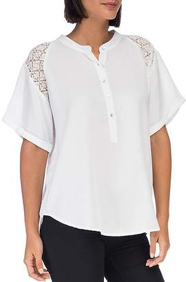 Bobeau B Collection by Carey Lace-Trimmed Blouse