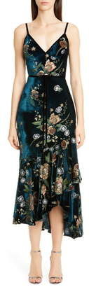 Marchesa Floral Embroidered Velvet High/Low Dress