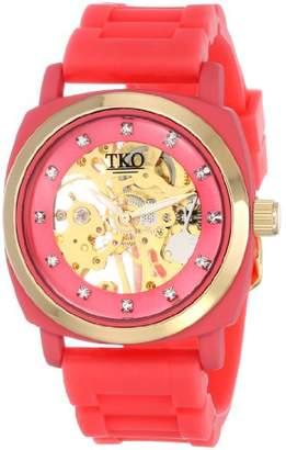 TKO ORLOGI Women's TK626PK Milano Rose Rubber Mechanical Movement Skeleton Watch