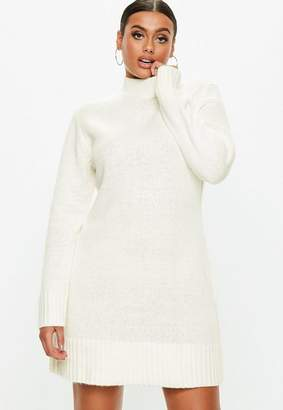 Missguided White Fluffy High Neck Sweater Dress