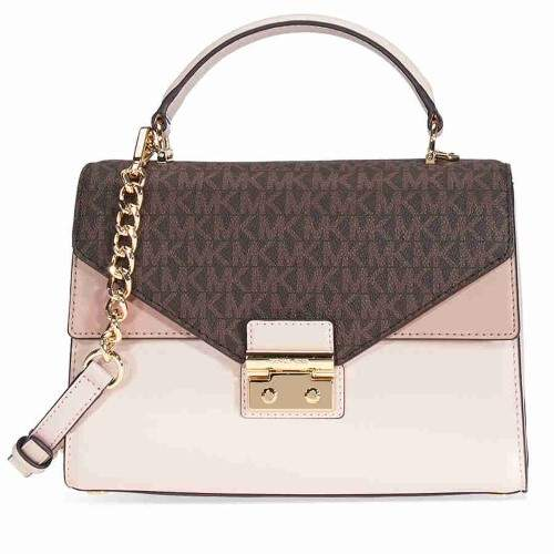 Michael Kors Sloan Medium Leather and Logo Satchel- Brown/ Soft Pink - ONE COLOR - STYLE
