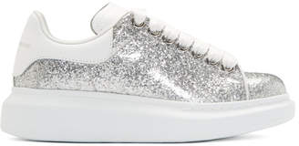Alexander McQueen Silver and White Glitter Oversized Sneakers