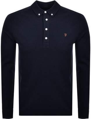 Farah Long Sleeved Polo T Shirt Navy