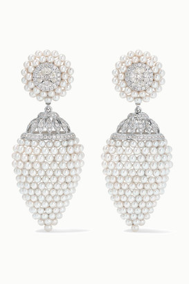 Amrapali 18-karat White Gold, Pearl And Diamond Earrings - one size