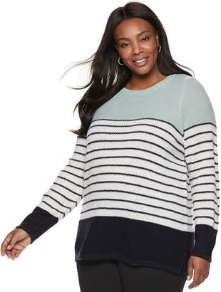 Croft & Barrow Plus Size Seed-Stitch Color Block Crewneck Sweater