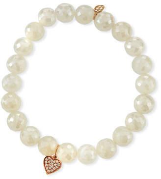 Sydney Evan Diamond Heart & Pearly Chalcedony Bracelet