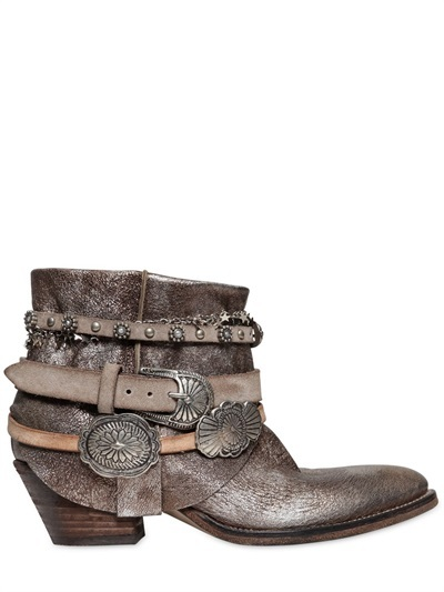 50mm Belted Metallic Leather Ankle Boots