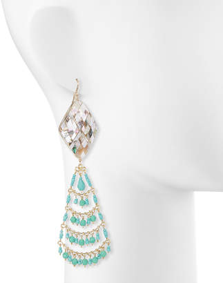 Devon Leigh Turquoise & Pearly Chandelier Earrings