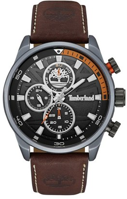 Timberland Henniker Ii Chronograph Leather Strap Watch, 46Mm $179 thestylecure.com