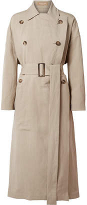 Michael Kors Linen And Silk-blend Trench Coat - Beige