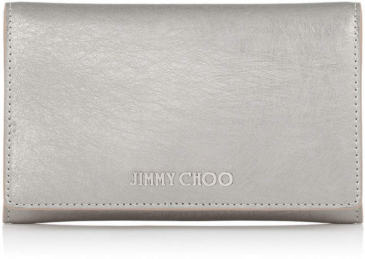 Jimmy Choo MARLIE Vintage Silver Etched Metallic Spazzolato Leather Continental Wallet
