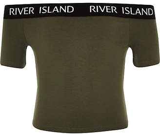 River Island Girls khaki RI bardot top
