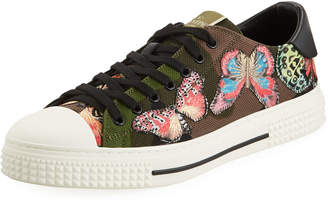 Valentino Men's Camo Butterfly Low-Top Sneakers