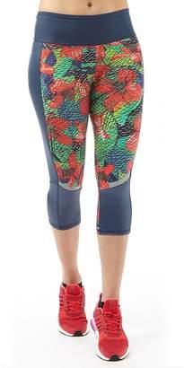 adidas Womens Salinas Climalite Tropical Capri Leggings III Blue/Green/Red