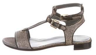 Stuart Weitzman Glitter T-Strap Sandals