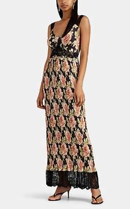 Paco Rabanne Women's Floral Satin Plissé Tank Dress - Black Pat.