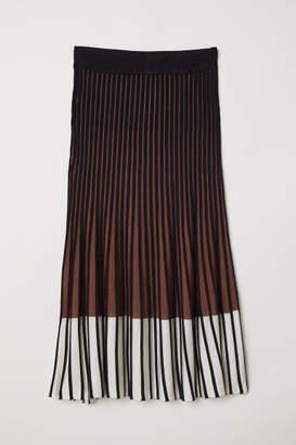 H&M Rib-knit Skirt - Beige