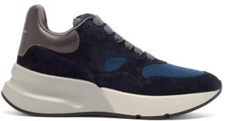 Alexander McQueen Runner Raised Sole Low Top Suede And Mesh Trainers - Womens - Navy