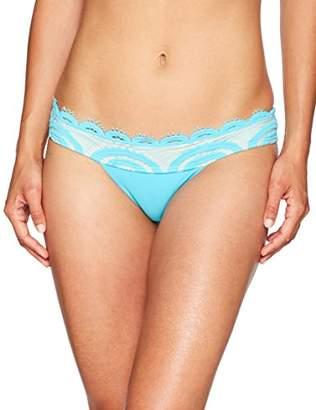 Pilyq Women's Blue Lace Banded Bikini Bottom Teeny Swimsuit