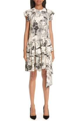 Alexander McQueen Eve Print Asymmetrical Silk Dress
