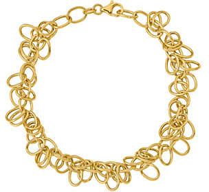 Italian Gold Oval Link Dangle Bracelet 14K, 5.6