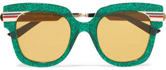 Gucci Cat-eye Glittered Acetate And Gold-tone Sunglasses