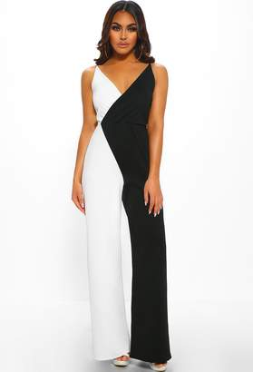 61accf895aa Pink Boutique Woman Like Me Black And White Wrap Wide Leg Jumpsuit