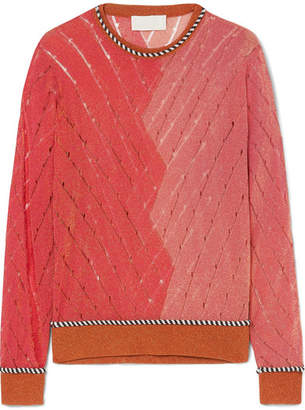 Peter Pilotto Two-tone Metallic Open-knit Sweater - Coral