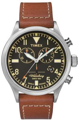 Timex R) Waterbury Chronograph Leather Strap Watch, 42mm