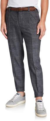 Brunello Cucinelli Men's Prince of Wales Wool-Silk Trousers