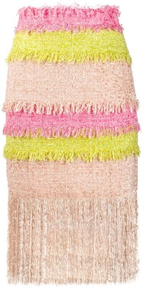 MSGM colour block fringed tweed skirt