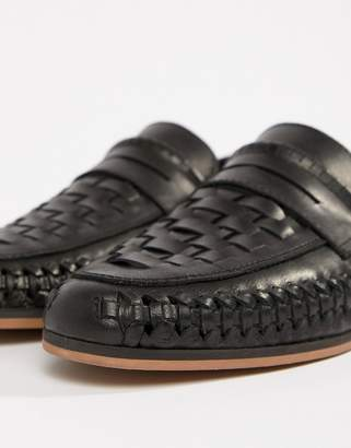 Asos Design DESIGN Loafers In Woven Black Leather