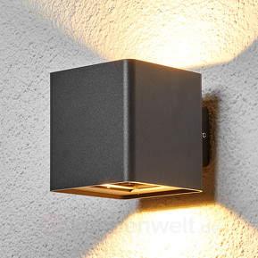 Grafitgraue LED-Außenwandleuchte Aaron