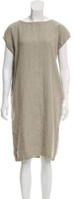 Black Crane Linen Shift Dress
