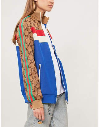 Gucci Womens Brown, White, Blue and Red Patchwork Jersey Zip-Up Jacket