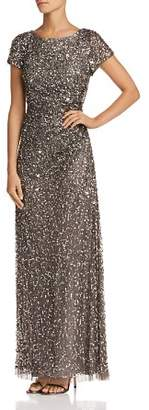 Adrianna Papell Beaded Cowl-Back Gown