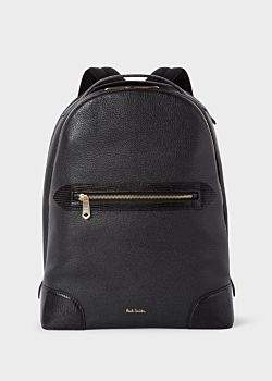 Paul Smith Men's Black Grained Leather Backpack