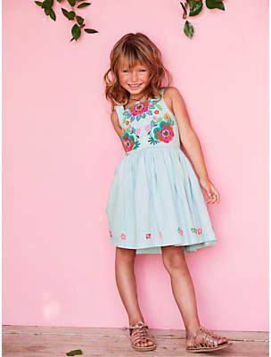 Boden Mini Girls' Bright Flower Embroidered Dress, Ocean Spray Blue