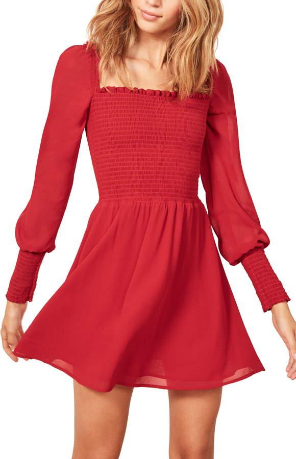 Reformation Kelli Smocked Bodice Fit & Flare Minidress