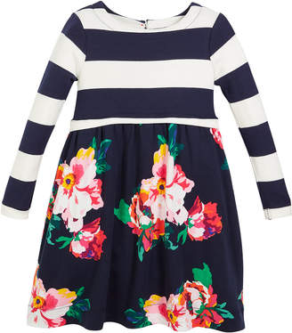Joules Stripe & Floral Long-Sleeve Dress, Size 2-6