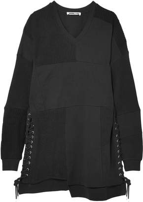McQ Lace-up French Cotton-terry Mini Dress