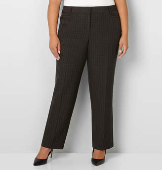 Avenue Brown Plaid Trouser with Tummy Control