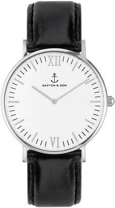 KAPTEN & SON Campus Leather Strap Watch, 40mm